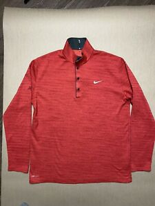 Nike Dri Fit Tiger Woods Collection Red Pullover Sweater L Fuzzy Zoeller Course $29.99