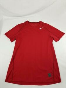 Nike Pro Dri Fit Mens Large Fitted Crewneck Short Sleeve Shirt Red Athletic $14.99