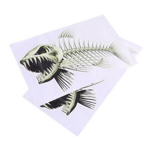 2 Pcs Skeleton Fish Stickers Fishing Stickers Unique Fishing Decals for Car