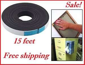 Magnetic Strip Tape 15Ft Flexible Roll ADHESIVE Backed Magnet Strong Sticky Back $8.29