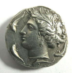 Ancient Vintage Greek Silver Coin Arethusa Dolphns amp; Chariot Decadrachm Repro $39.95
