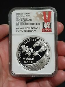 🔥 NGC PF69 2020 P End of World War 2 II 75th Anniversary 1oz Silver Medal Eagle $175.00