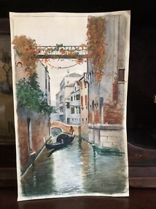 Vintage Antique Signed Benvenuti Italy Watercolor Painting Venice canal Gondola $78.00
