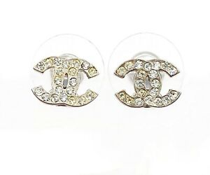 Chanel Classic Silver CC Crystal Small Piercing Earrings $499.00