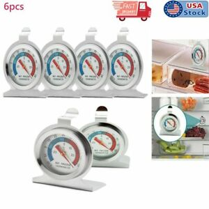 6X Stainless Steel Refrigerator Freezer Thermometer Fridge DIAL Type Hang Stand