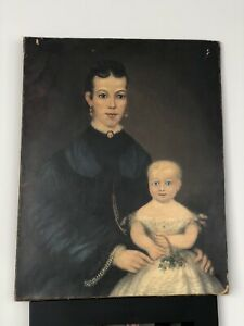 Antique Original Folk Art Oil on Canvas Painting Portrait of Woman with girl $650.00