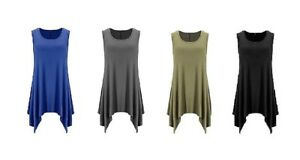 Womens Sleeveless Asymetrical Flare Tunic Top $11.99