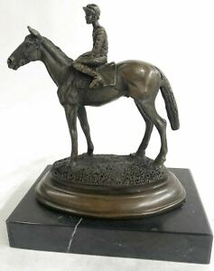 WONDERFUL PURE BRONZE HORSE AND JOCKEY RACEHORSE STATUE NUMBER 1 SCULPTURE LARGE $179.00