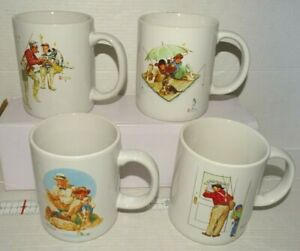 Norman Rockwell 4 Coffee Mugs Closed for Business Trout Dinner Fishing LB 1987