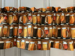 NEW Beer Lager Glasses Mugs Drink Fabric Valance Curtain Kitchen 42x14