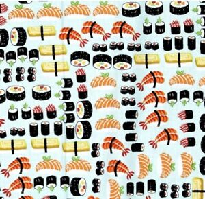NEW Sushi Vegetable Seafood Food Fabric Valance Curtain Kitchen 42x14