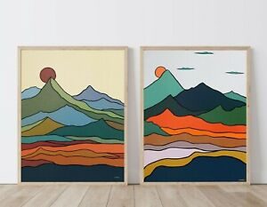 Set of 2 Prints Mountain Wall Art Scandinavian Mid Century Modern Art Home Decor $59.50
