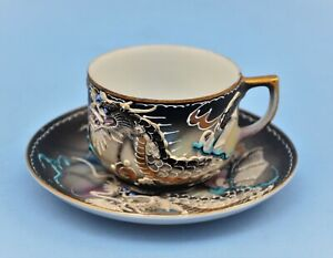 ANTIQUE DRAGONWARE JAPAN HAND PAINTED DEMITASSE CUP AND SAUCER W GEISHA