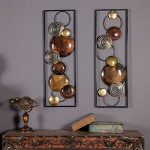 Metal Wall Decor Panel Art Modern Geometric Industrial Rectangular Circular New $114.95