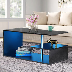 3 Tier RGB LED High Gloss Coffee Table with Remote Modern Living Room End Tables $83.99