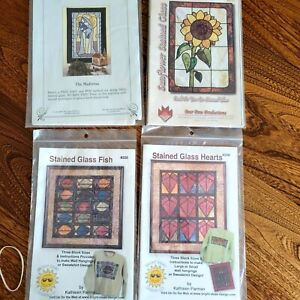 Stained Glass Quilt Sewing Wall Hangings Patterns 4 for $8 NOS $8.00