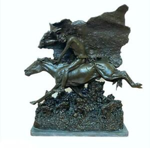 Frederic Remington Bronze Horse Theif Grey Marble Base Sculpture $3999.99