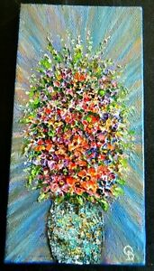 Abstract ORIGINAL Paintingquot;Flowersquot; Acrylic heavy impasto 3quot;x6quot; by Olga D. $34.99