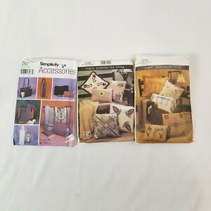 Lot of 3 Accessories Pillow Patterns Sewing Designs $10.00