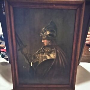 Vintage Late 1800s Early 1900s A Man In Armour By Rembrandt Van Rijn framed $50.00