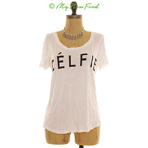 Recycled Karma Juniors Celfie T Shirt Top Size M Scoop Neck White Rayon B28 $11.99