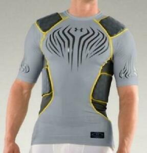 Mens 2XL Under Armour MPZ 5 Pad Compression Football Top 1217710 035 Gray NWT $26.99