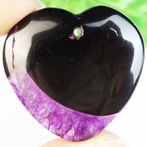 38x8mm Black Purple Onyx Druzy Geode Agate Heart Pendant Bead N17810 $4.67