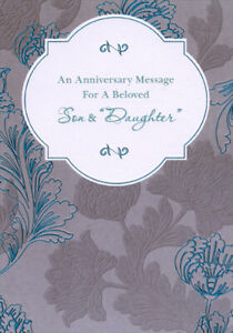 Blue Foil and Gray Flowers on Gray Anniversary Card for Son and Daughter in Law
