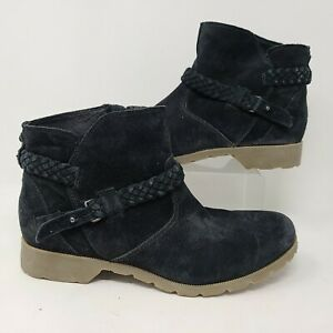 Teva Womens Delavina Ankle Boot Zip Up Black Suede Leather Size 10 $34.99