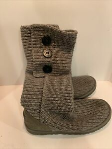 UGG Australia CARDY BUTTONS GRAY CROCHET KNIT KNEE HIGH OR UNDER BOOTS SIZE 9