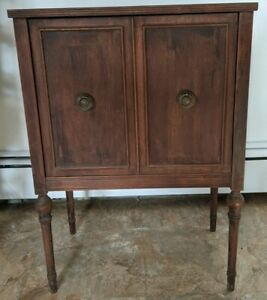Vintage Sewing Wood Cabinet Table Revolving Door for Thread Notions Crafts NICE $159.99