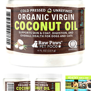 Raw Paws Organic Virgin Coconut Oil for Dogs amp; Cats 4 oz Supports Immune S...