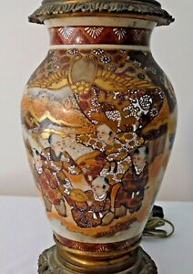 ANTIQUE JAPANESE SATSUMA HAND PAINTED FIGURAL VASE CONVERTED TO A LAMP