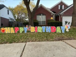2021NEW YARD SIGN HAPPY BIRTHDAY LARGE YARD SIGN 17 PCS with 17 METAL STAKES $35.00