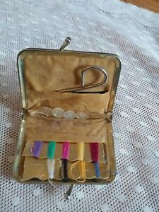 Vintage Travel Sewing Kit navy grey Colored sewing kit Mid Century $4.00