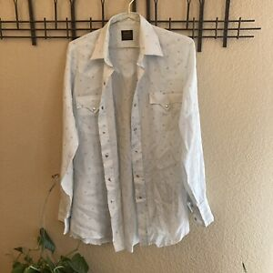 Vintage Sears Western Wear Mens Long Sleeve Button Down Pearl Snaps Maybe M