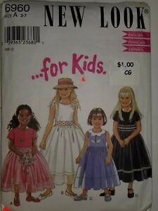 Dress Kids Sewing Pattern Size A 2 7 New Look 6960 UC FF Holiday Casual Girls $5.99