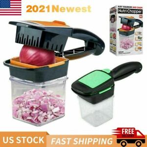 NutriChopper Food Chopper Dicer w 3 Stainless Steel Blades Container New