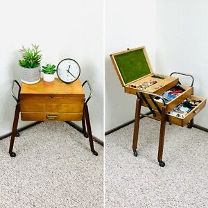 50s Sewing Table Sewing Cart Original Mid Century Knitting Vintage Buttons 60s $179.00
