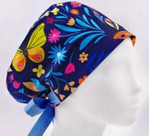 Scrub caps for women scrub hats surgery hat butterfly flower surgical cap