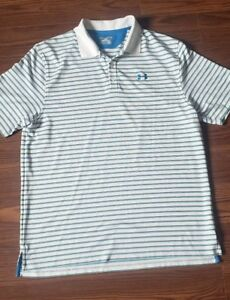 Under armour golf shirt xl White Blue Grey Striped Loose fit $25.00