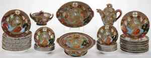 RARE GREAT JAPANESE SATSUMA DINNER SERVICE WITH LITHOPHANES 90 PCS NO RESERVE