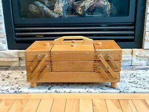 VINTAGE ACCORDION SEWING BOX STORAGE 3 TIER FOLDING WOOD CASE GREAT CONDITION $55.00