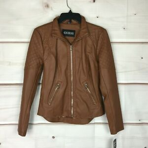 Guess Front Zip Faux Leather Long Sleeve Women Size XS Solid Brown Moto Jacket $53.99