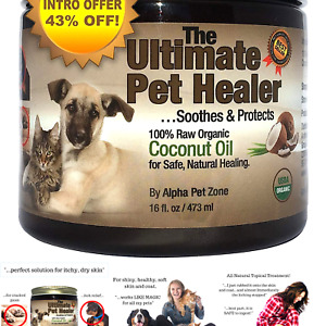 ALPHA PET ZONE Coconut Oil for Dogs Treatment for Itchy Skin Dry Elbows Pa...