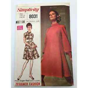 Simplicity 8031 Vintage Sewing Pattern Dress MCM Size 14 Bust 36 $10.00