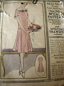 Antique sewing pattern 1920#x27;s casual dress young lady style $9.00