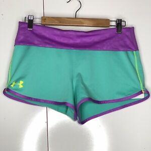 Girls Under Armour Shorts Youth XL Purple Teal Logo Fold Over Waist Comfort $19.97