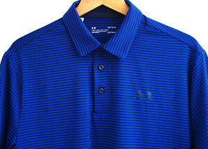 Under Armour Golf Polo Shirt Heat Gear Blue Black Striped Size Mens Large NWOT $14.99
