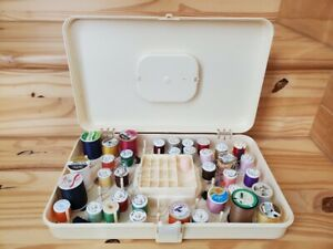 Vintage Wilson Wil Hold Ivory Handled Plastic Sewing Storage Box with Thread 🧵 $18.99